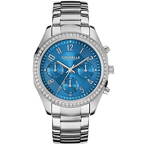 Caravelle by Bulova Women's Steel Bracelet & Case Quartz Blue Dial Chronograph Watch 43L182