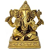 Gangesindia Miniature Lord Ganapati Brass Figure (6.99 CM, 5.34 CM, 4.45 CM)