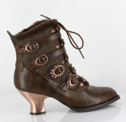 Hades Nephele Victorian Almond Toe Ankle Boots-Brown, 7