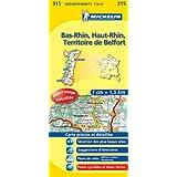 Carte DPARTEMENTS Bas-Rhin, Haut-Rhin, Territoire de Belfort