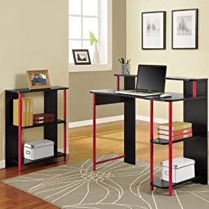 Altra Furniture Computer Desk and Bookcase Set, Black and Red