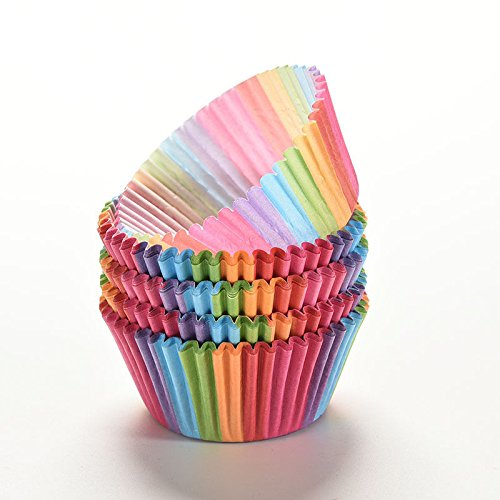 Rainbow color 100 pcs cupcake liner baking cup cupcake paper muffin cases Cake box Cup tray cake mold decorating tools(Mixed Color) (Farberware Mini Muffin Pan compare prices)