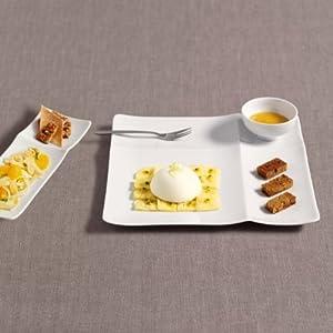 Assiette plate carrée en porcelaine blanche modèle Api