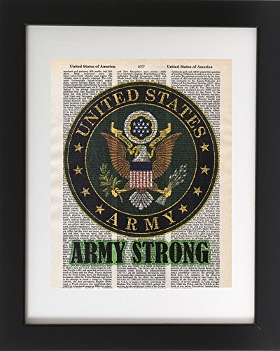 Army Strong - Upcycled Dictionary Military Wall Art Print 8x10. Tribute to the Armed Services.