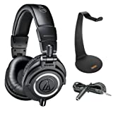 Audio-Technica ATH-M50x Monitor Headphones (Black) with Headphone Stand & Extension Cable 10'