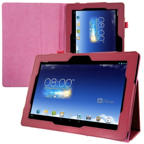 ASUS MeMO Pad Smart ME301T PUレザー カバー ケース ( ME301-16 10.1インチ タブレット 対応)  Soft PU Leather Cover Case スタンド機能 / タッチペン収納ゴム付き 【 high quality Hot Pink(ピンク)】