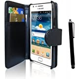 Classic Black Wallet Synthetic PU Leather Flip Case Cover for Samsung Galaxy S II 2 GT-i9100,with Touch Stylus Pen - Not for Samsung Galaxy S2 T-Mobile(T989), Sprint(D710),AT&T(i777)