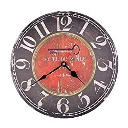 14 Inch Hotel Du Monde Vintage Silent Wooden Wall Clock Home Decoration