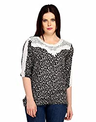 Snoby Black Printed Cotton Top (SBY1008)