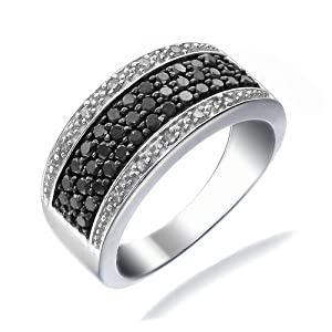 3/4 CT Black & White Diamond Ring In Size 9 (Available In Sizes 5 - 10)