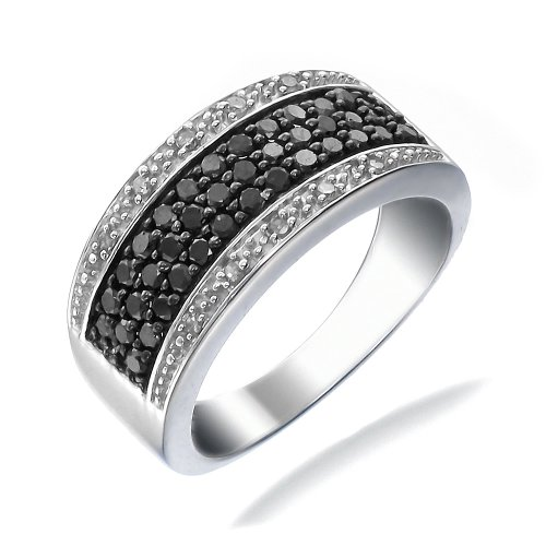 3/4 CT Black & White Diamond Ring (Available In Sizes 5 - 10)