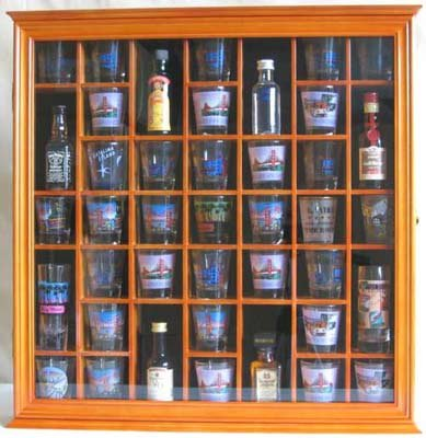 how to build a shot glass display case