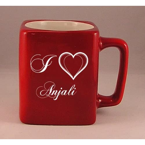Coffee mug with laser engraved text: I Love Anjali (first name/surname