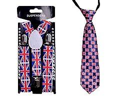 Sorellaz English Flag Suspender & Tie for Boys (upto 5 years)
