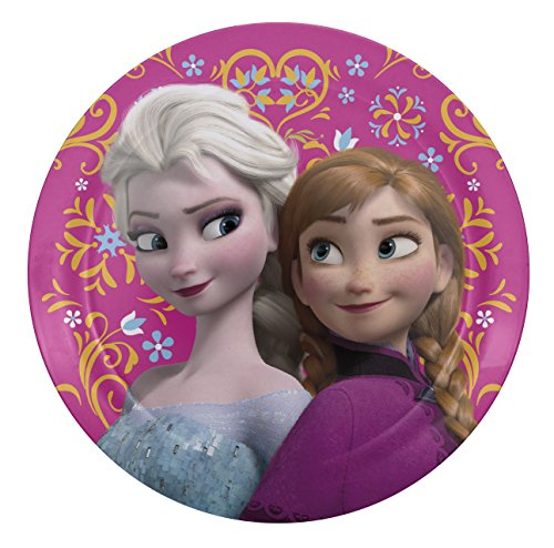 Zak! Designs Dinner Plate with Elsa & Anna, BPA-free Melamine, 8-inches