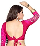 Bollywood Designer Embroidered Pink Blouse Material (UNSTICHED)