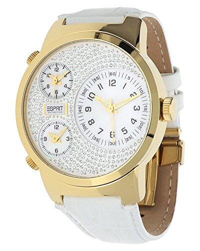 Esprit  POLYDORA - Reloj de cuarzo para mujer, con correa de cuero, color blanco