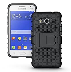 Kick Stand Spider Hard Dual Rugged Armor Hybrid Bumper Back Case Cover For Samsung Galaxy Core 2 SM-G355H - Rugged Black