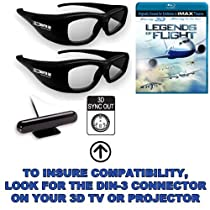 """True Depth 3D Mitsubishi Bundle -2 Pairs of Glasses with Emitter and 3D Blu ray) for Mitsubishi 3D TVs (""""3D-ready"""" TVs may Require Additional Hardware)"""