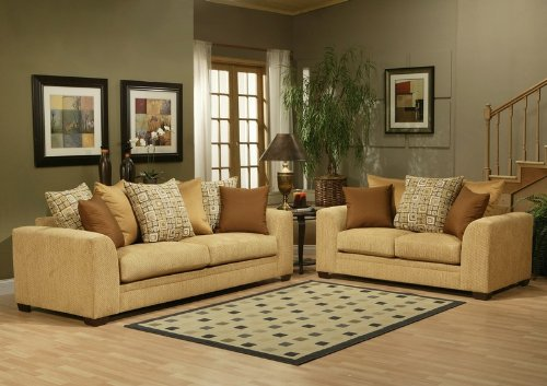 Buy Low Price Benchley 2pc Sofa Loveseat Set with Cushion Back Design in Almond Color (VF_BCL-MAINSTREET)