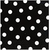 Amscan Black Beverage Napkins With White Polka Dots (16)