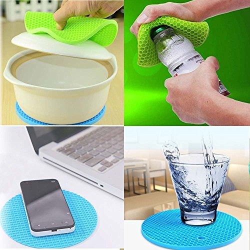 Coaster Pot Holders Trivet Mat Flexible Jar Opener Pads Silicone Kitchen Tool (2 pieces)(Green)