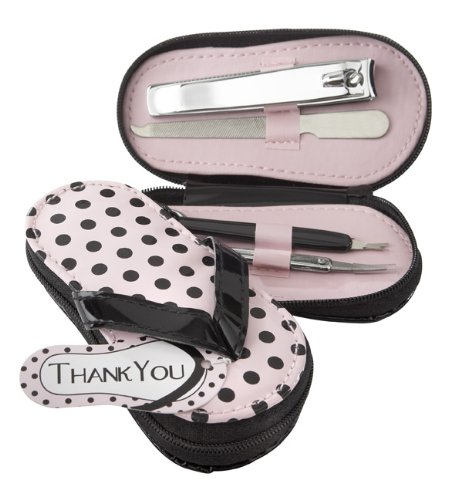 "Kate Aspen ""Pink Polka Flip Flop"" Five Piece Pedicure Set with Matching ""Thank You"" Tag"