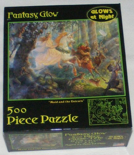 Fantasy Glow 500 Piece Jigsaw Puzzle - Maid and the Unicorn