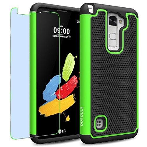 LG Stylus 2 / LS775 / K520 Case, INNOVAA Smart Grid Defender Armor Case W/ Free Screen Protector & Touch Screen Stylus Pen - Black/Green