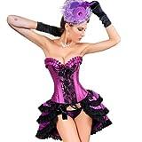 MUKA Burlesque Black & Purple Lace Fashion Corset, Gift Idea