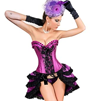 MUKA Burlesque Black & Purple Lace Fashion Corset, Gift Idea S