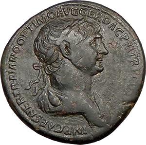 TRAJAN addresses SOLDIERS 114AD Rare Authentic Ancient Sestertius Roman Coin