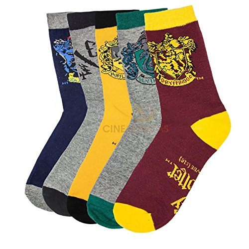 Set of 5 Harry Potter- themed socks with house crest - Cinereplicas