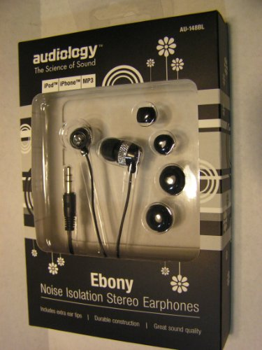 Audiology Ebony Noise Isolation Stereo Earphones