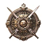 APKAMART Hand Crafted Bahubali Dhal Talwar Set Traditional Wall Hanging - 17.5 Inch - Sword and Shield - Wall Showpiece for Wall Decor, Home Decor, Room Decor and Gifts