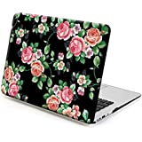 Gmyle Hard Case Print Frosted (Foral Pattern) For 13 Inch MacBook Air - Black Floral Rose