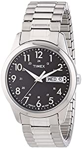 """Timex Men's T2M932 """"Elevated Classics"""" Silver-Tone Expansion Band Watch"""