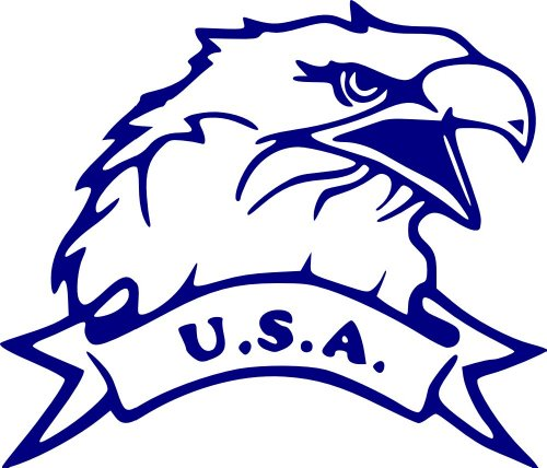 "Jp Vinyl Design - Eagle With Usa Banner -Vinyl Decal - 8"" - Shappire Blue"