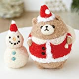 くまサンタさんと雪だるまのマスコット手作りキット・スターターセット(針・マット)付き【羊毛フェルト クリスマス Xマス ツリー オーナメント】