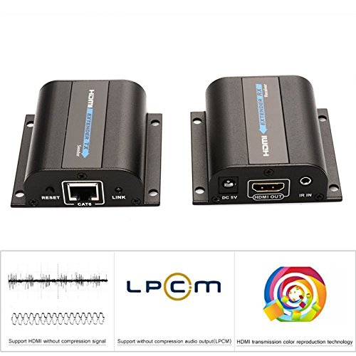 E-SDS HDMI Network Extender Over Single Cat5/5e/6 Ethernet Cable with IR Up To 196 Feet 60m Supports 1080P &3D, HD Audio, Deep Color - Support 20~60KHz Wide frequency IR Remote Control