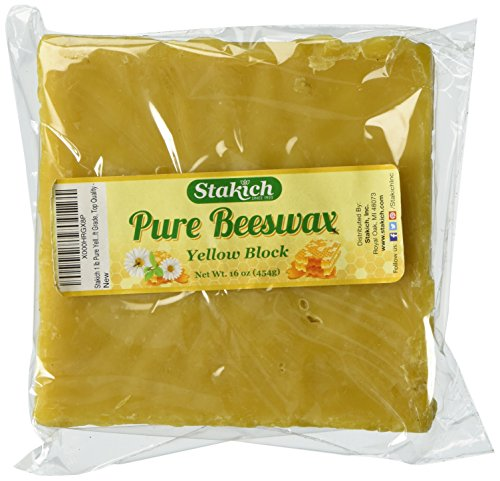 Stakich 1 lb Pure Yellow BEESWAX Block - Craft Grade, Top Quality -