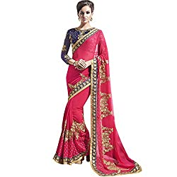 Vasu Saree Exotic Pink Georgette Designer Saree