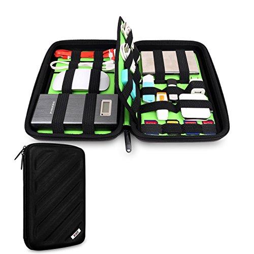 デジタル バッグ ガジェット デジモノ収納 スマホ、パソコン周辺機器収納 ケーブルケース インナーケース USBメモリ収納袋 HDDケース 充電コード イヤホン収納 ポータブルハードディスク 防振、防水仕様 静電防止、ホコリや傷予防軽量ケース カードケース (M: 26x16.5x5cm, ブラック)