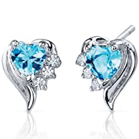 Cupids Grace 1.00 Carats Swiss Blue Topaz Heart Shape Cubic Zirconia Earrings in Sterling Silver Rhodium Nickel Finish by Peora