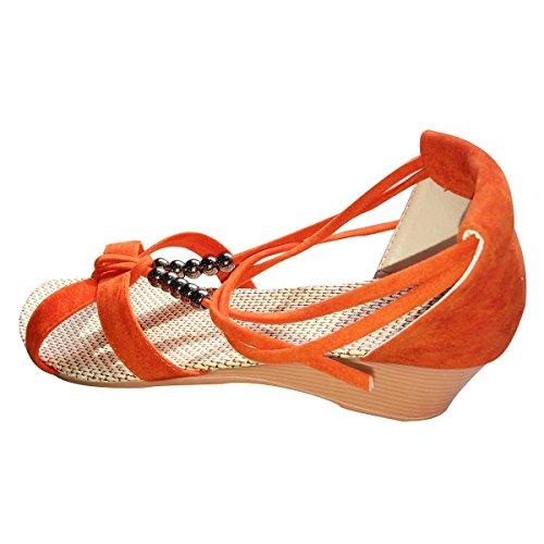 Minetom Casual Sandali da Donne d'estate Scarpe Pantofole con Perline Nastri Accessorio Vacanza ( Arancione EU 38 )