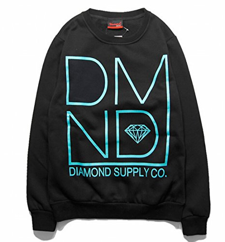 Easy Mens Hip Hop Street Style Round Neck Long Sleeved Pullover M Black