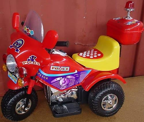 Battery Operated Kid's Trike Bicycle - Police - red bike