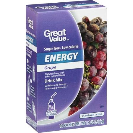 Great Value Grape Energy Drink Mix, 10ct (Pack of 6) (Great Value Grape Sugar Free compare prices)