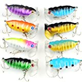 VERY100 Fishing Tackle Lures Snakehead Bass Killer Insect Treble Hooks Baits (8pcs)