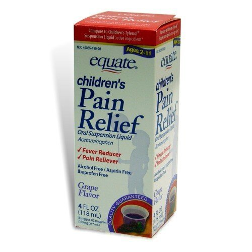 Equate Children's Pain Relief, Ages 2-11, Grape Flavor, Oral Suspension, Acetaminophen Liquid, 4-Ounce (Pack of 2)